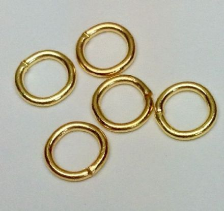"6 mm Gold plated round jump rings ""hard """